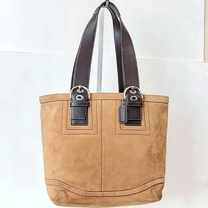 Rare! Coach Suede Leather Tote Bag!
